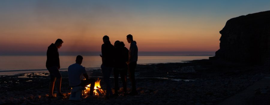 Group at campfire